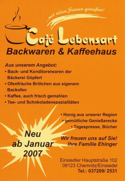 Flyer Café Lebensart Einsiedel