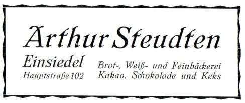 Werbung Bäckerei Arthur Steudten 1926