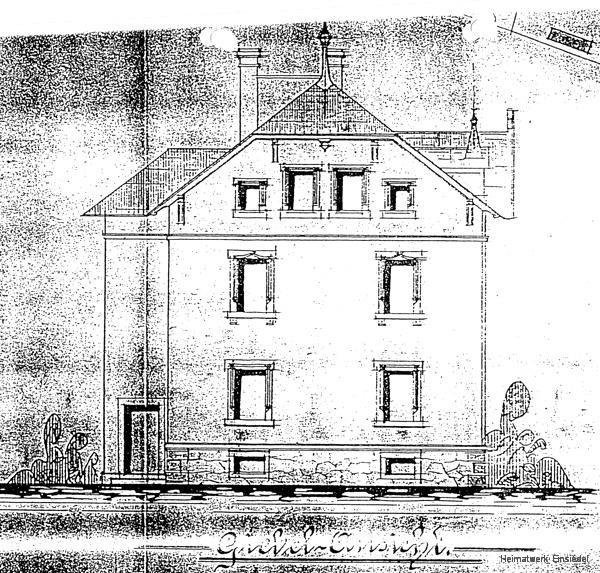 Bauzeichnung Giebelseite Hauptstr. 112 in Einsiedel 1901