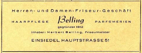 Werbeanzeige Friseur Belling 1955