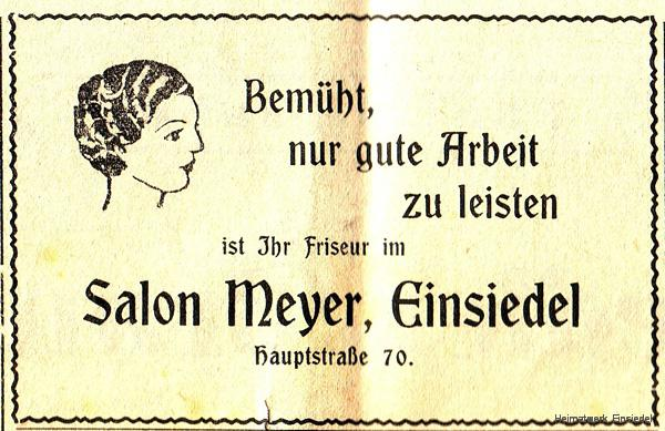 Annonce Friseursalon Meyer, Einsiedel, 1935