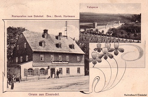 Postkarte des Restaurant zum Bahnhof von 1911