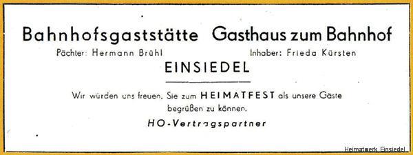 Bahnhofsgastätte Einsiedel und restaurant zum Bahnhof, Werbeanzeigen 1955