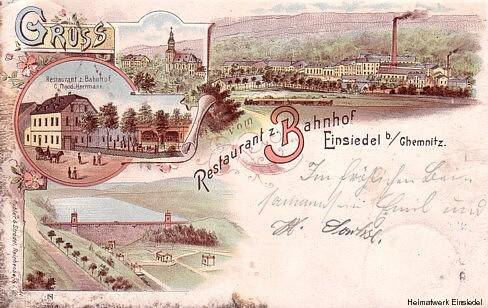 Restaurant zum Bahnhof, Lithografie von 1898
