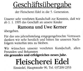 Geschäftsübernahme Fleischerei Edel - Kerner 1995