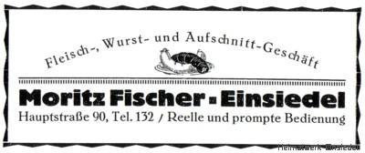 Werbung Fleischerei Moritz Fischer, Einsiedel 1926