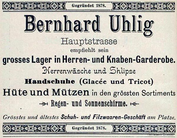 Werbeanzeige Bekleidungsgeschäft Bernhard Uhlig, Einsiedel