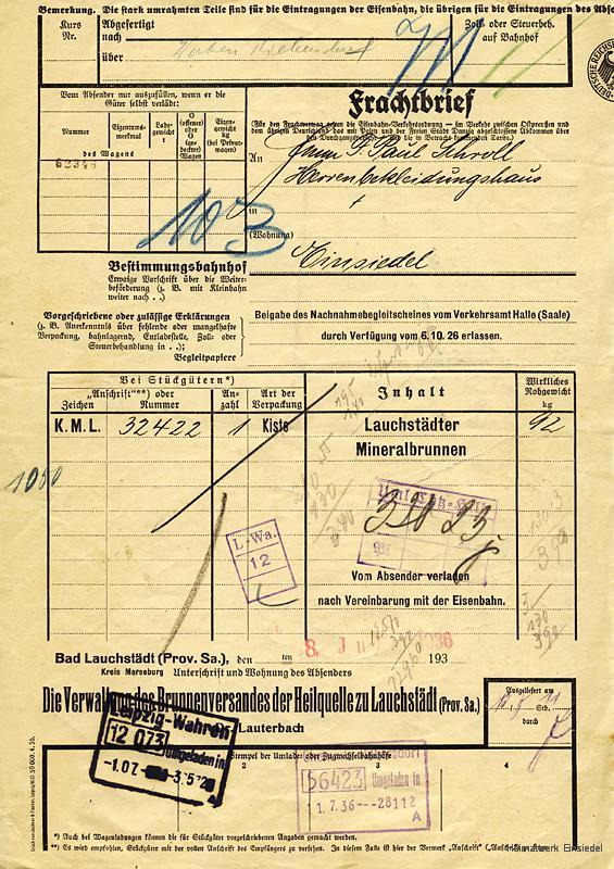 """Frachtbrief Deutsche Reichsbahn """"Lauchstädter Mineralbrunnen"""", Einsiedel 1936"""