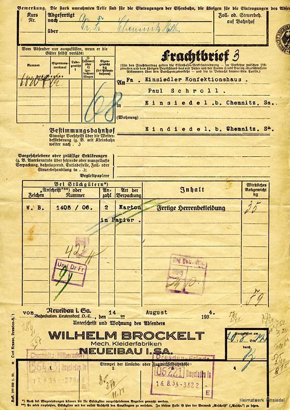 Deutsche Reichsbahn Frachtbrief Herrenbekleidung, Einsiedel 1934
