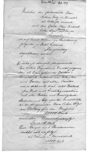 Kaufvertrag für die Bäckerei in Einsiedel, Hauptstr. 122 von 1919