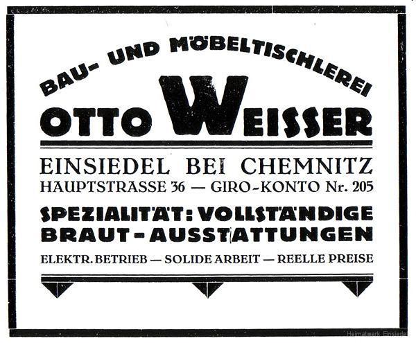 Reklame Tischlerei Weißer 1926
