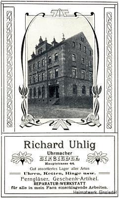 Reklame Uhrmacher Richard Uhlig, Einsiedel 1905