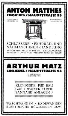 Reklameanzeigen von Kelmpnerei Matz und Schlosserei Matthes in Einsiedel 1926