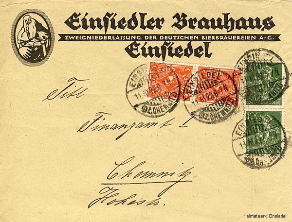 Brief des Einsiedler Brauhauses an das Finanzamt Chemnitz Oktober 1922