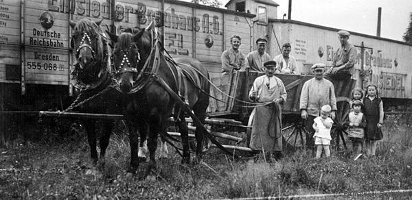 Bahnwaggons der Einsiedler Brauhaus AG um 1930
