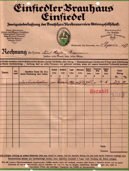 Rechnung der Radeberger Exportbierbrauerei AG, Zweigniederlassung Einsiedler Brauhaus 31.12.1927