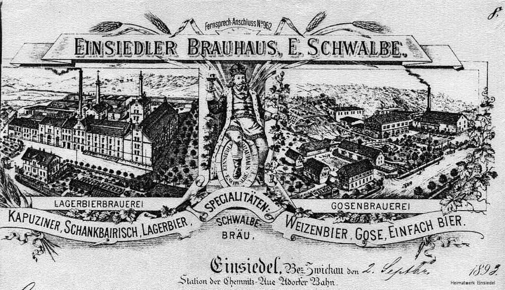 Briefkopf Einsiedler Brauhaus 1898