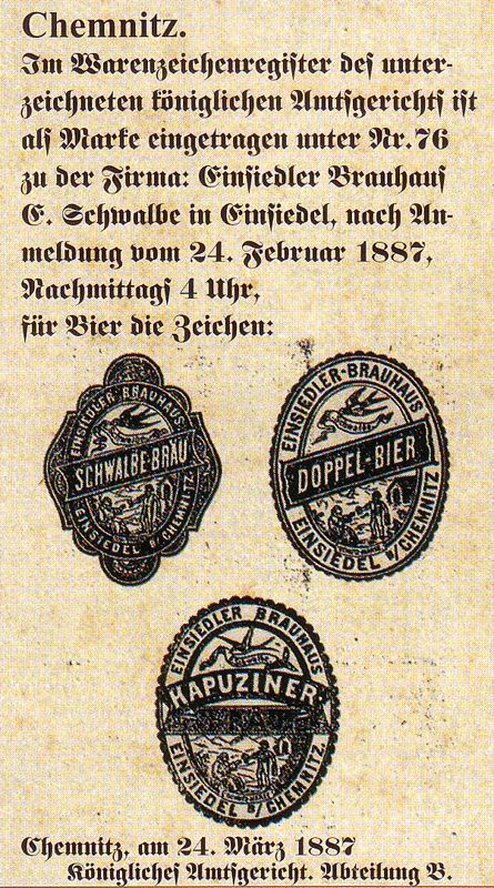 Warenzeichen der Brauerei Schwalbe 1887