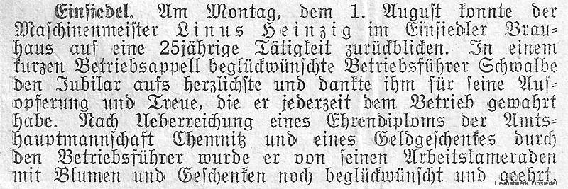 Wochenblatt für Einsiedel vom August 1938