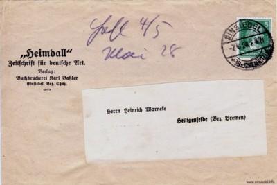 Streifbandabzug (Banderole) Heimdall der Druckerei Baßler in Einsiedel
