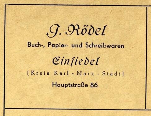 Papier- und Schreibwaren Irmgard Rödel, Einsiedel 1955 (Tochter von Max Zickmantel, Buchbinderei)