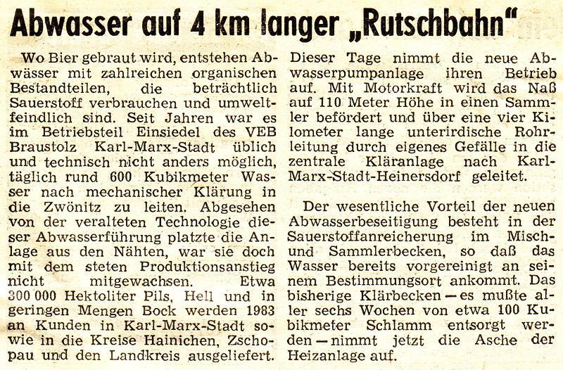 """Zeitung """"Blick"""", 12. Oktober 1983"""