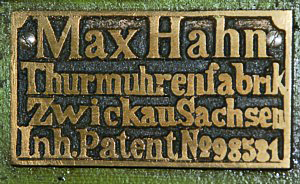 Fabrikschild Turmuhrenfabrik Max Hahn Zwickau