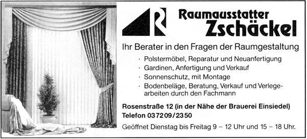 Annonce Raumausstattung Zschäckel in Einsiedel 1994