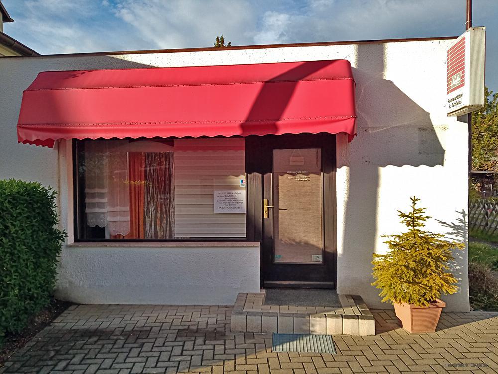 Ehemaliger Laden der Raumausstattung Zschäckel, Einsiedel, Rosenstraße, Mai 2020