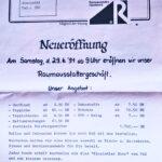 Offerte zur Ladeneröffnung Raumausstatter Roland Zschäckel 1991