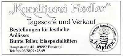 Werbeanzeige Konditorei Fiedler, Einsiedel, 1994