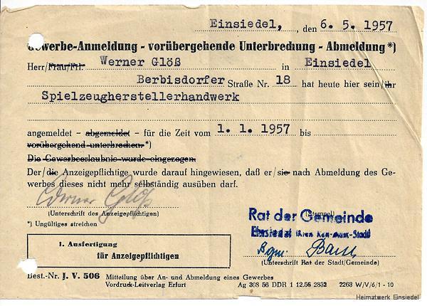 Gewerbeanmeldung Werner Glöß