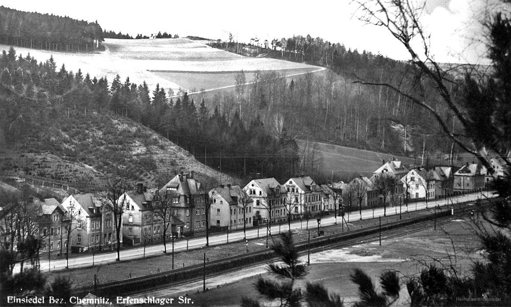 Erfenschlager Straße in Einsiedel um 1935.