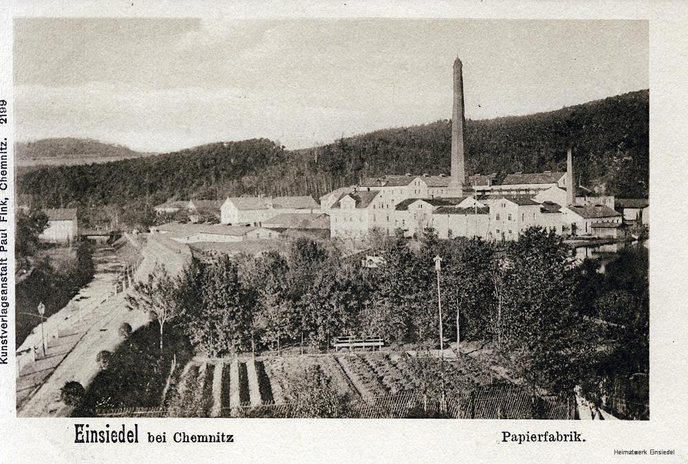 Einsiedel: Gärtnerei Weniger und Papierfabrik etwa 1896.